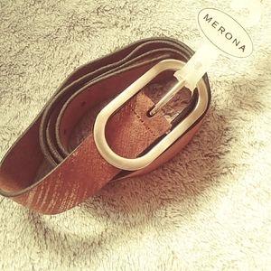 Merona brown leather belt NWT